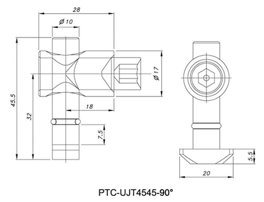 Universal Joint Set PTC-UJT4545-90°